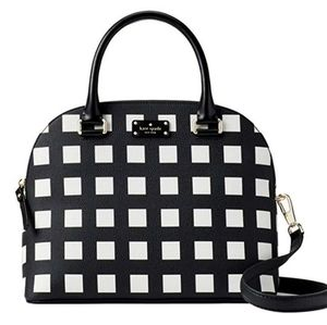 Kate Spade Black and White Square Pattern Satchel